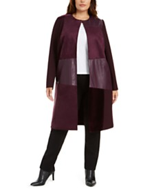 Calvin Klein Plus Size Mixed-Media Long Jacket