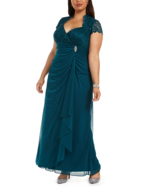 1940s Plus Size Dresses | Swing Dress, Tea Dress Betsy  Adam Plus Size Sequined-Lace Ruched Gown $169.00 AT vintagedancer.com