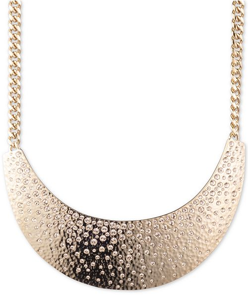 "Givenchy Gold-Tone Pavé Statement Necklace, 16"" + 3"" extender"