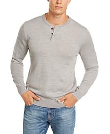 Men's Henley Merino Wool Blend Sweater, Created for Macy's
