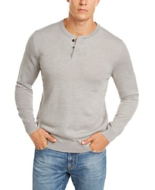 Club Room Men's Regular-Fit Henley Merino Sweater, Created for Macy's