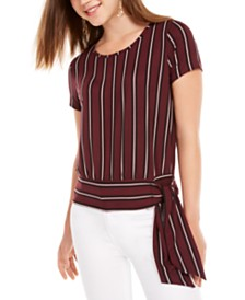 BCX Juniors' Striped Side-Tie Top