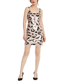 Animal-Sequin Shift Dress