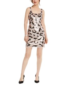 Adrianna Papell Animal-Sequin Shift Dress