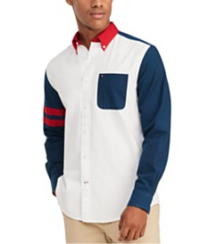 Tommy Hilfiger Men's Custom-Fit Zay Pieced Oxford Shirt, Created for Macy's