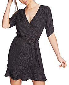 Leopard-Print Flounce Mini Dress
