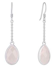 Rose Quartz Teardrop Earring in Sterling Silver