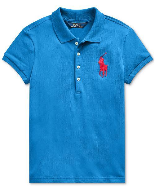 Polo Ralph Lauren Big Girls Stretch Mesh Polo Shirt