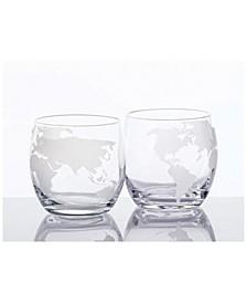 Whiskey Glasses Set with Globe Design, Set of 2