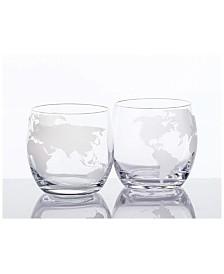 Bezrat Whiskey Glasses Set with Globe Design, Set of 2