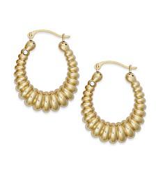 Diamond Accent Shrimp Hoop Earrings in 14k Gold over Resin