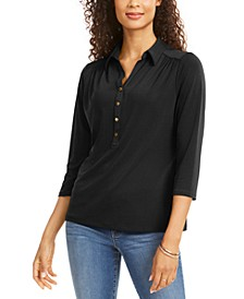 Petite 3/4-Sleeve Polo Top, Created for Macy's
