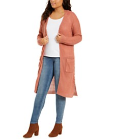 Planet Gold Trendy Plus Size Lace-Up Duster Sweater