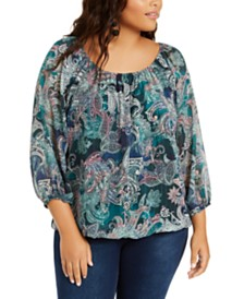 NY Collection Plus Size Printed Bubble-Sleeve Top