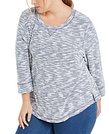 Plus Size Marled Textured Sweatshirt, Created for Macy's