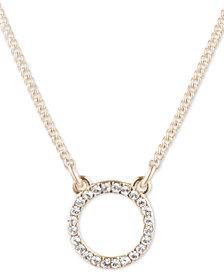 "DKNY Gold-Tone Pavé Open Circle Pendant Necklace, 16"" + 3"" extender"