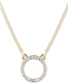 "DKNY Gold-Tone Pavé Open Circle Pendant Necklace, 16"" + 3"" extender"