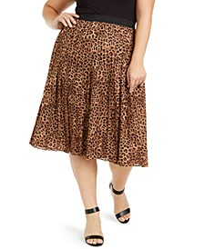 Plus Size Animal-Print Pleated Midi Skirt, Created for Macy's
