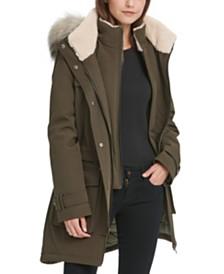 DKNY Petite Faux-Fur-Trim Hooded Anorak