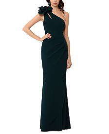 XSCAPE Embellished One-Shoulder Gown