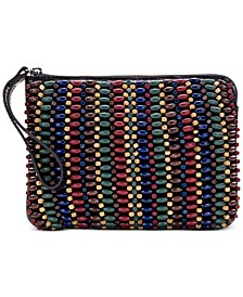 Blue Forest Beaded Cassini Wristlet