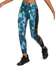 Ideology Abstract Camo Mesh-Trimmed Leggings, Created for Macy's