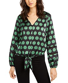 INC Dot-Print Tie-Front Blouse, Created for Macy's