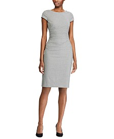 Lauren Ralph Lauren Petite Houndstooth Cap-Sleeve Dress