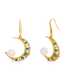 Imitation Pearl and Rhinestone Crescent Earring