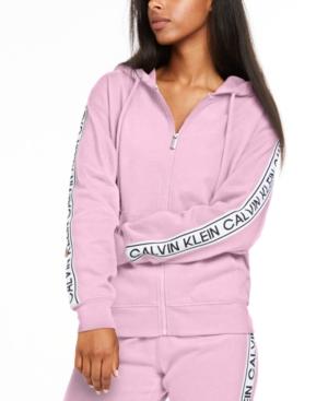 Calvin Klein Performance Vintage-Logo Zip Hoodie In Azalea
