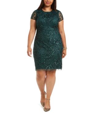 Plus Size Embellished Sheath Dress In Dusty Emerald Green