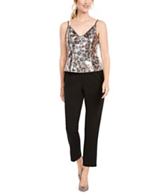 Adrianna Papell Leopard-Print Jumpsuit