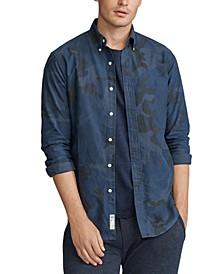 폴로 랄프로렌 Polo Ralph Lauren Mens Camo Classic Oxford Shirt,Blue Camo
