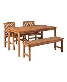 4 Piece Chevron Outdoor Patio Dining Set