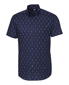 Cutter and Buck Men's Big and Tall Strive Keyhole Print Short Sleeve Shirt