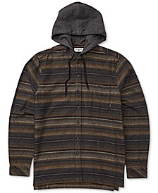 Men's Baja Stretch Stripe Hooded Flannel Shirt
