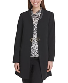 DKNY Open-Front Topper Jacket With Faux-Leather Trim