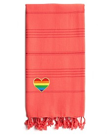 Linum Home 100% Turkish Cotton Summer Fun Cheerful Rainbow Heart Pestemal Beach Towel