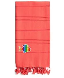 Linum Home 100% Turkish Cotton Summer Fun Sparkling Rainbow Fish Pestemal Beach Towel