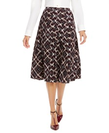 Calvin Klein Plaid Pleated Midi Skirt