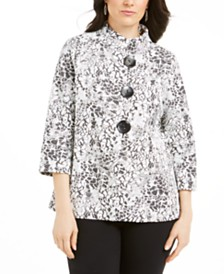 JM Collection Textured Animal-Print Jacket, Created for Macy's