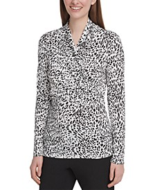 Animal Print Side-Ruched Top