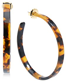 Medium Gold-Tone & Acetate Thin Open Hoop Earrings 2""