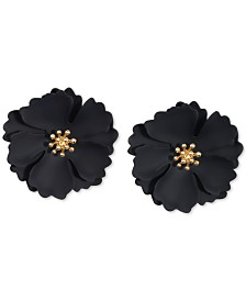Zenzii Gold-Tone & Suede-Painted-Finish Camellia Stud Earrings
