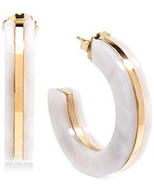 "Medium Gold-Tone & Acetate Open Hoop Earrings 1-1/2"""