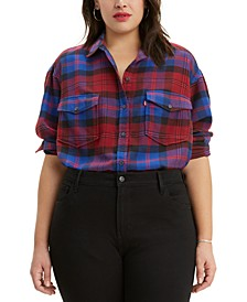 Trendy Plus Size  Plaid Boyfriend Shirt