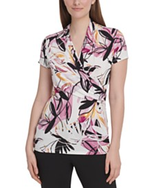 DKNY Printed Side-Ruched Top