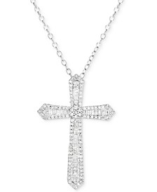"Diamond Cross 18"" Pendant Necklace (1/2 ct. t.w.) in Sterling Silver"