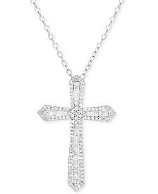 "Diamond Cross 18"" Pendant Necklace (1/2 ct. t.w.) in Sterling Silver"