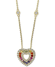 "EFFY® Multi-Sapphire (3/8 ct. t.w.) & Diamond (3/8 ct. t.w.) Heart 18"" Pendant Necklace in 14k Gold"